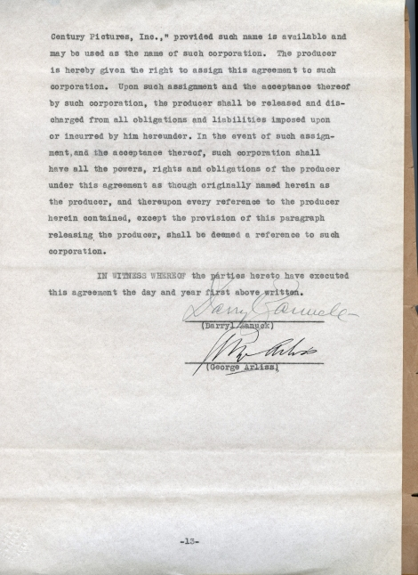Arliss 20th Cent Contract 13